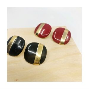 Vintage Square Earrings. Black + Gold Red + Gold.